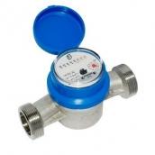 Крыльчатые одноструйные промышленные счётчики воды в комплекте с монтажными частями TMAX +90° С