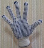Перчатки с  ПВХ точка, 10-й класс вязки 4-х нитка